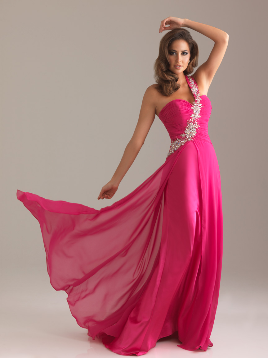 Fuchsia Column One Shoulder Sweetheart Zipper Sweep Train Beading Full Length Evening Dresses