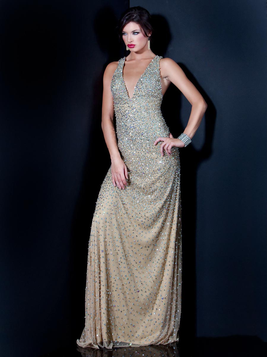 Gold And Silver Column Deep V Neck Cross Back Sweep Train Full Length Sequined Celebrity Dresses