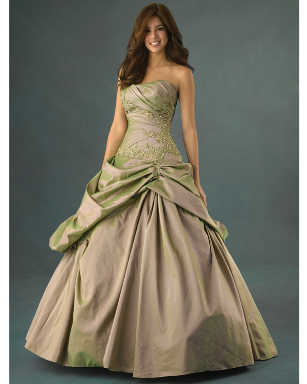 Khaki Ball Gown Strapless Lace Up Floor Length Ruched Quinceanera Dresses With Rmbroidery