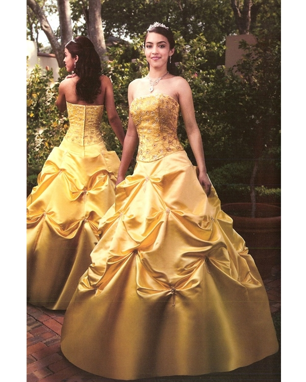 Gold Ball Gown Strapless Zipper Full Length Quinceanera Dresses With Embroidery And Twist Drapes