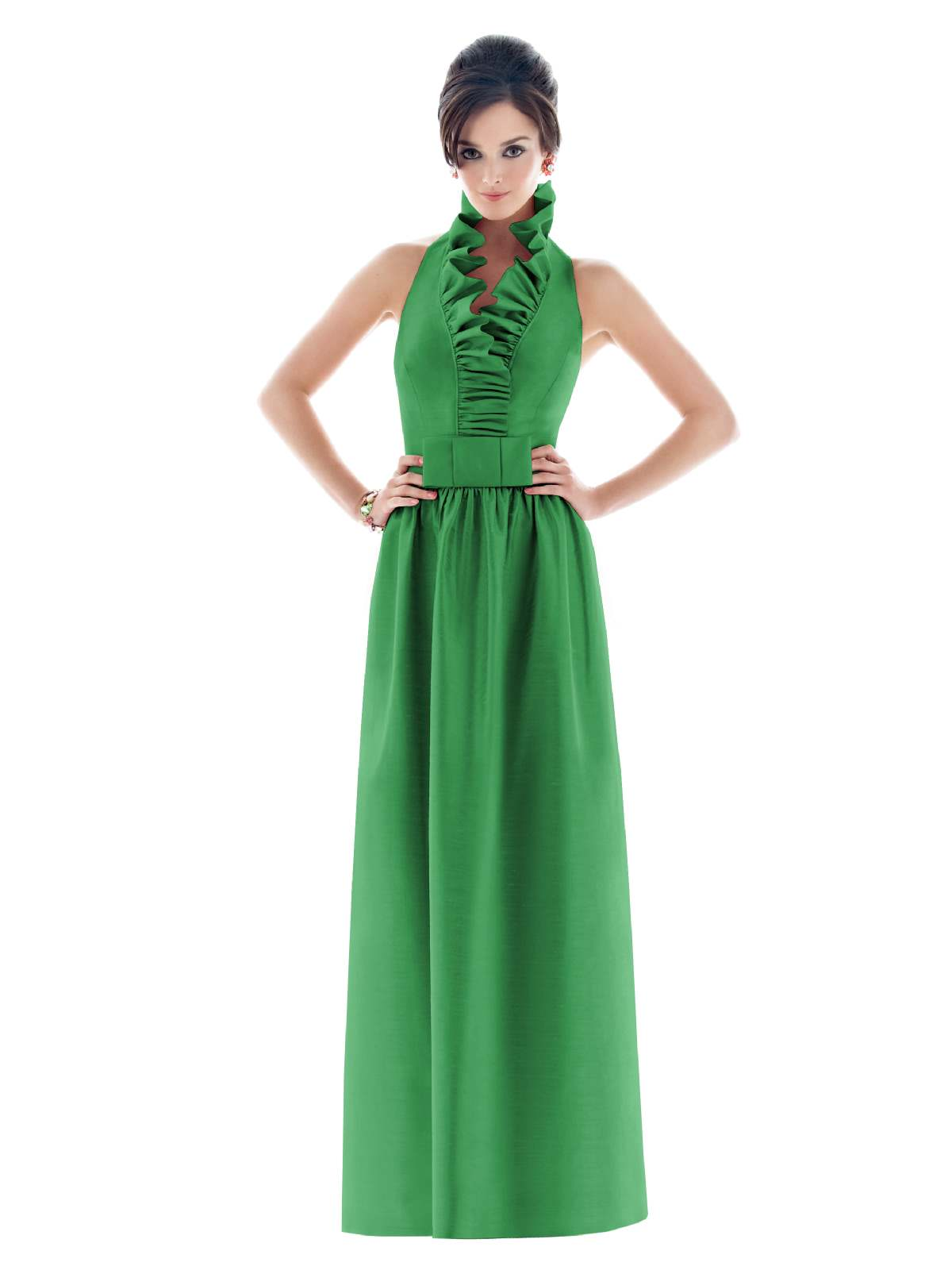 Green A Line Flounced Halter Low Back Floor Length Prom Dresses With Belt