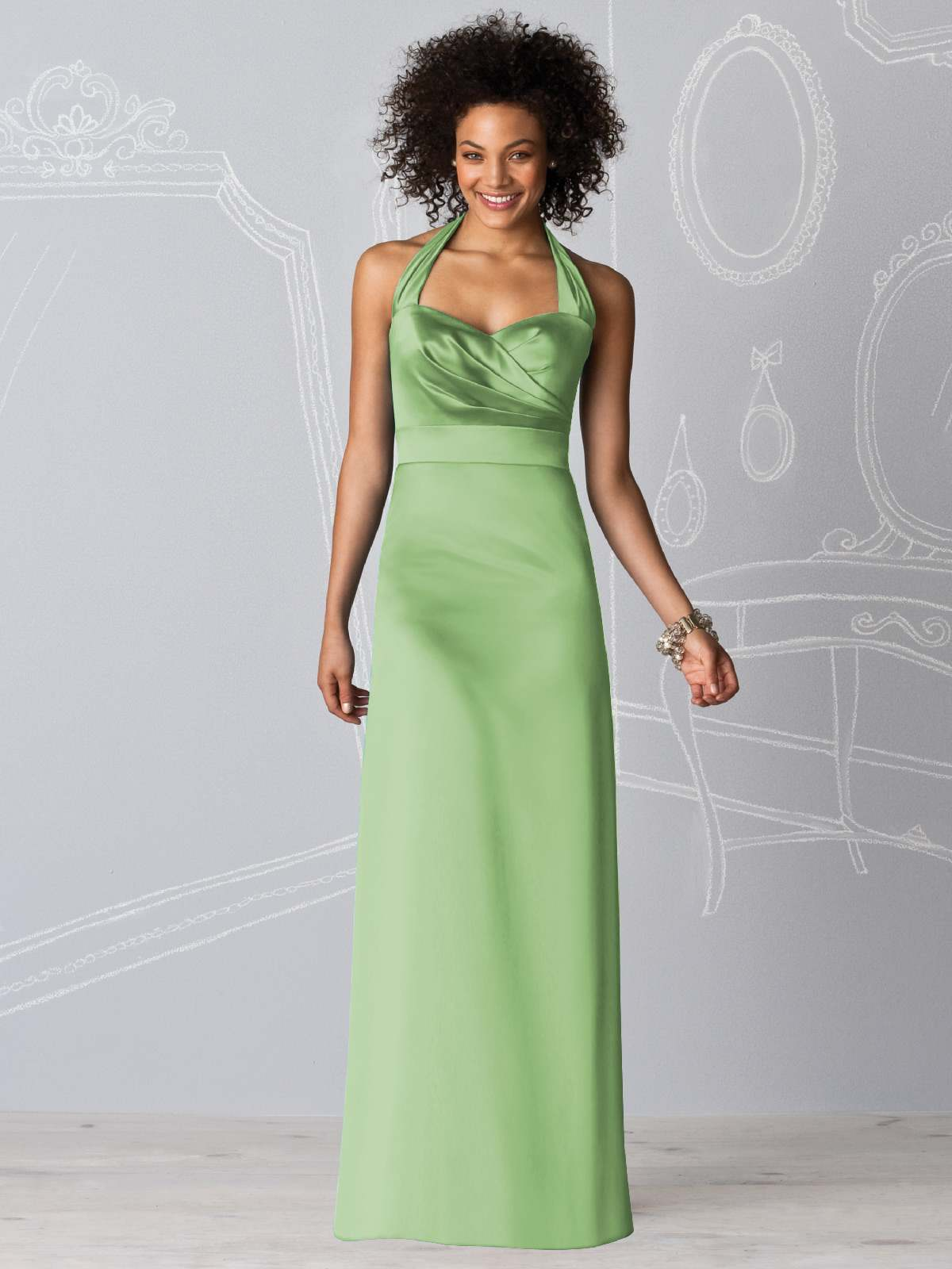 Sage Column Halter And Sweetheart Zipper Floor Length Satin Prom Dresses With Drapes