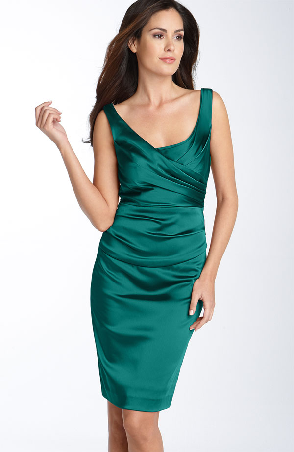 Deep Green Column Square Neckline And Strap Zipper Knee Length Ruffled Satin Prom Dresses