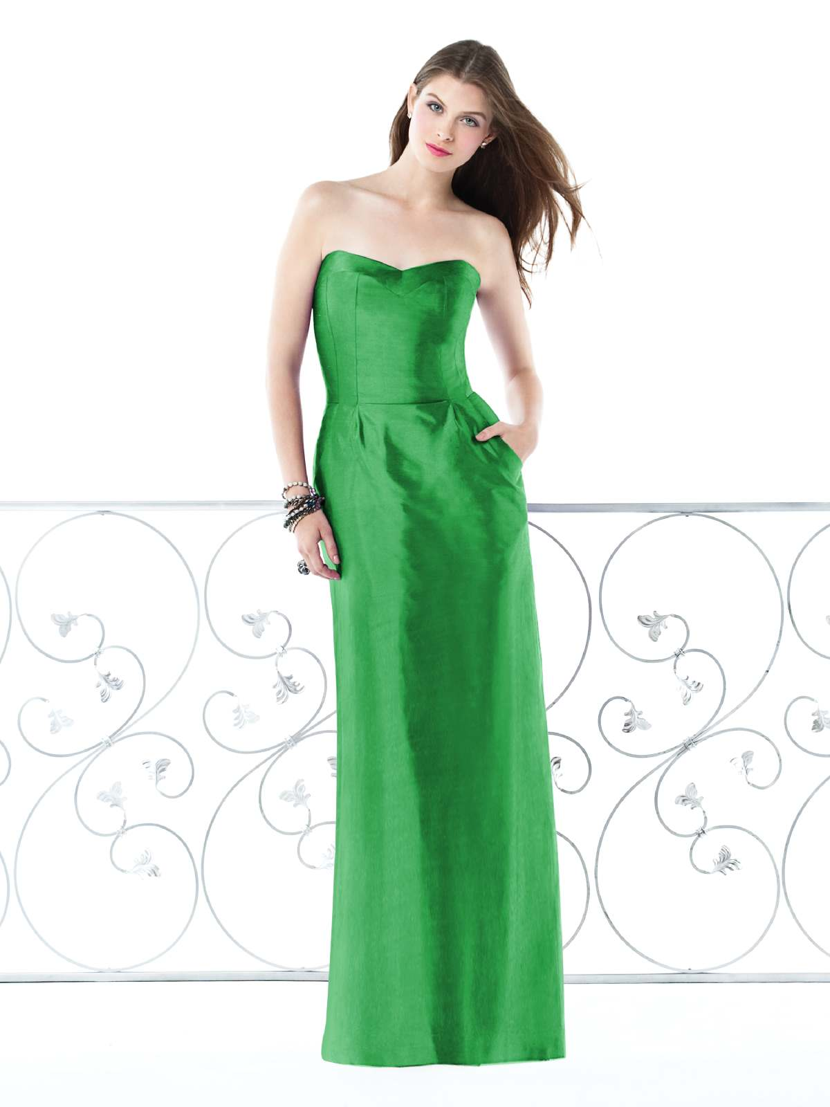 Hot Sale Column Strapless Sweetheart Zipper Floor Length Green Prom Dresses