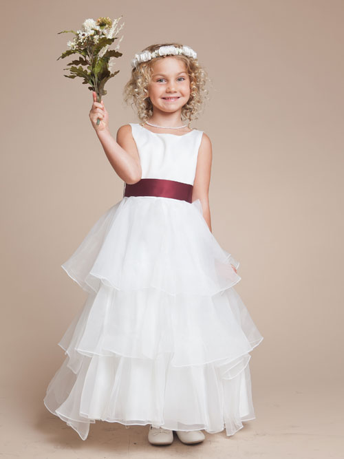 Ivory A Line Bateau Ankle Length Flower Girl Dresses With Flower And Ruffles