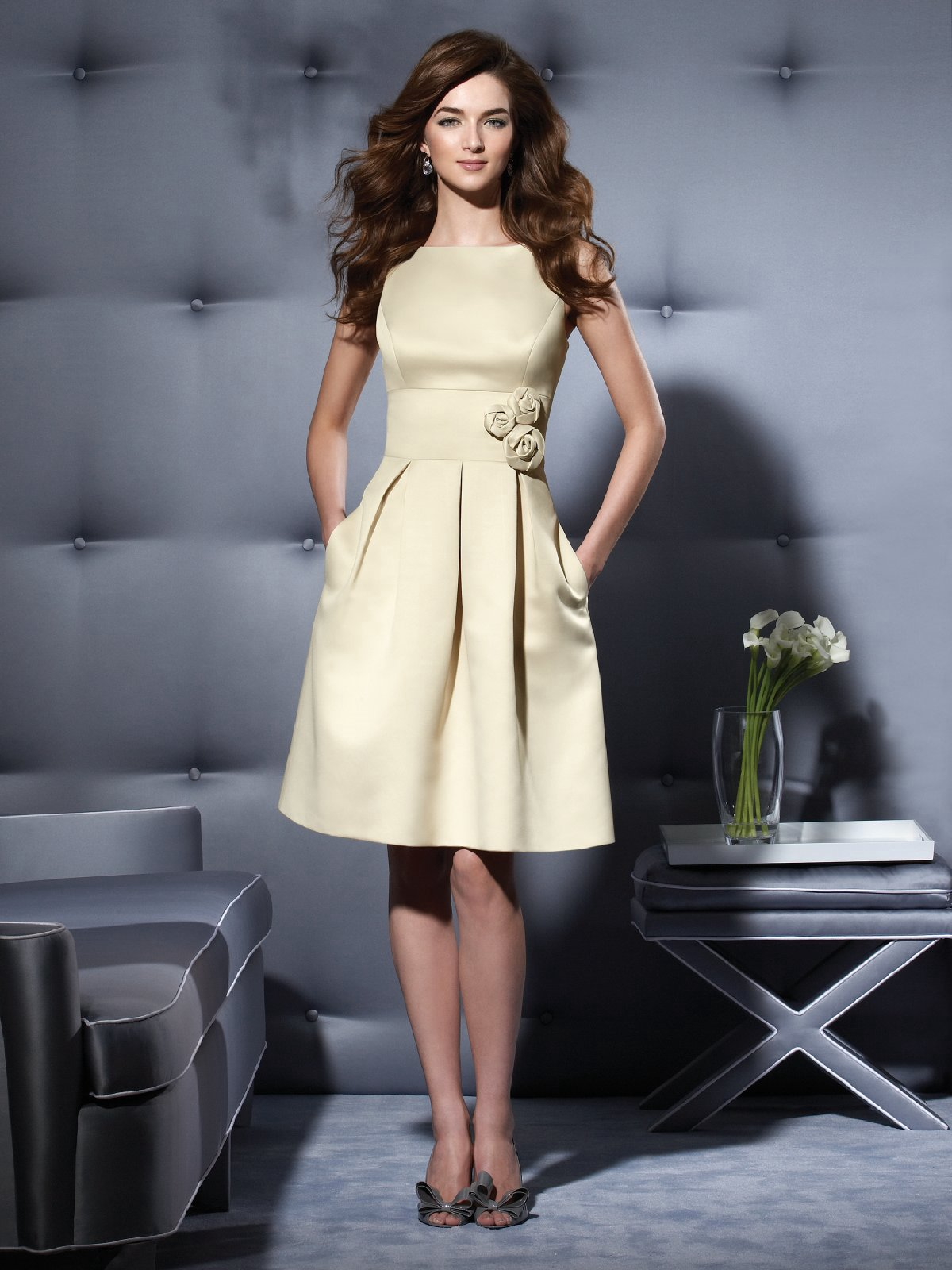 Ivory A Line Bateau Low Back Knee Length Satin Prom Dresses With Rosettes And Pockets