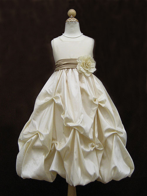 Bateau Zipper Ankle Length Ivory A Line Flower Girl Dresses With Flower Belt And Twist Drapes