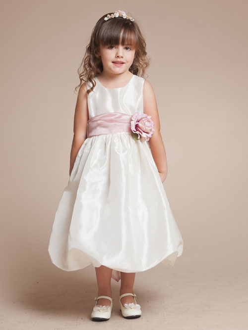Ivory Bateau Zipper Tea Length A Line Flower Girl Dresses With Pink Flowers Belt