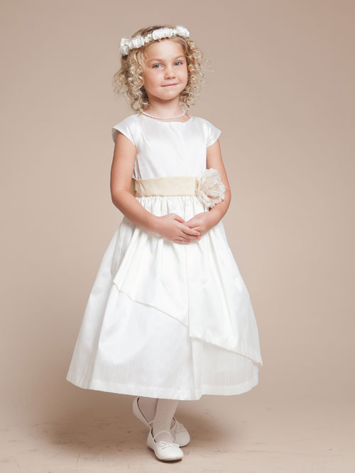 White A Line Bateau Zipper Tea Length Flower Girl Dresses With Ivory Sash And Flowers