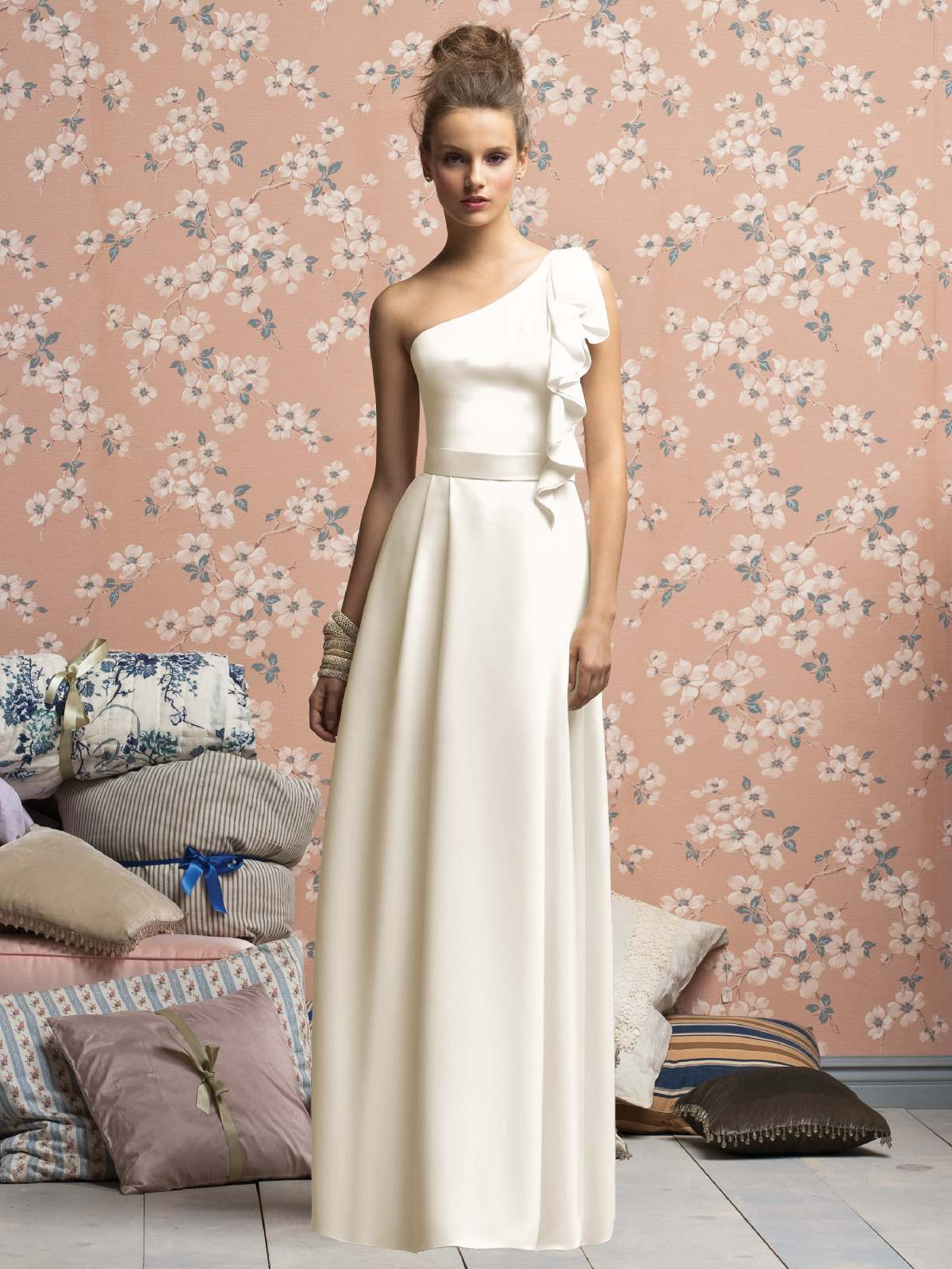 White A Line One Shoulder Zipper Full Length Prom Dresses With Drapes