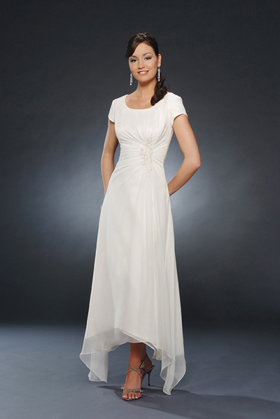 Ivory Scoop And Short Sleeve Zipper Ankle Length A Line Mother Of Bride Dresses With Appliques And Drapes