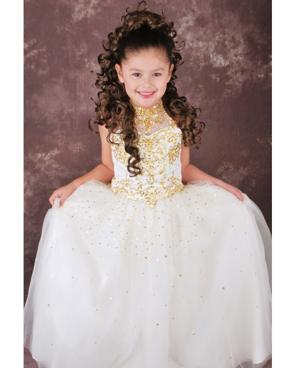 Ivory High Neck Lace Up Floor Length Ball Gown Flower Girl Dresses With Gold Beading And Sequins