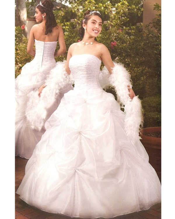 White Ball Gown Strapless Zipper Full Length Quinceanera Dresses With Ruffles