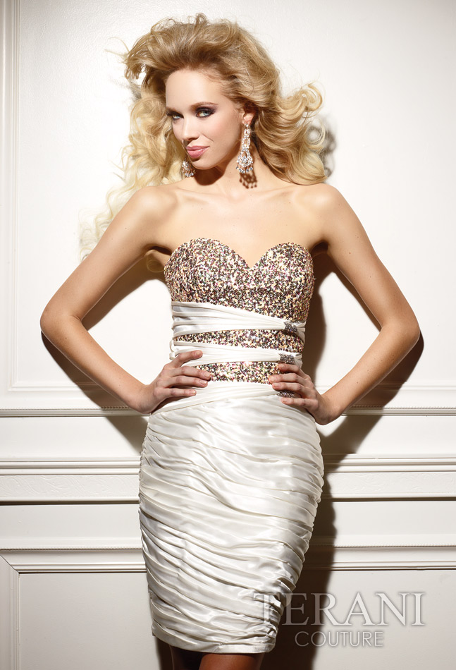 Ivory Column Strapless Sweetheart Short Mini Celebrity Dresses With Sequins And Ruches