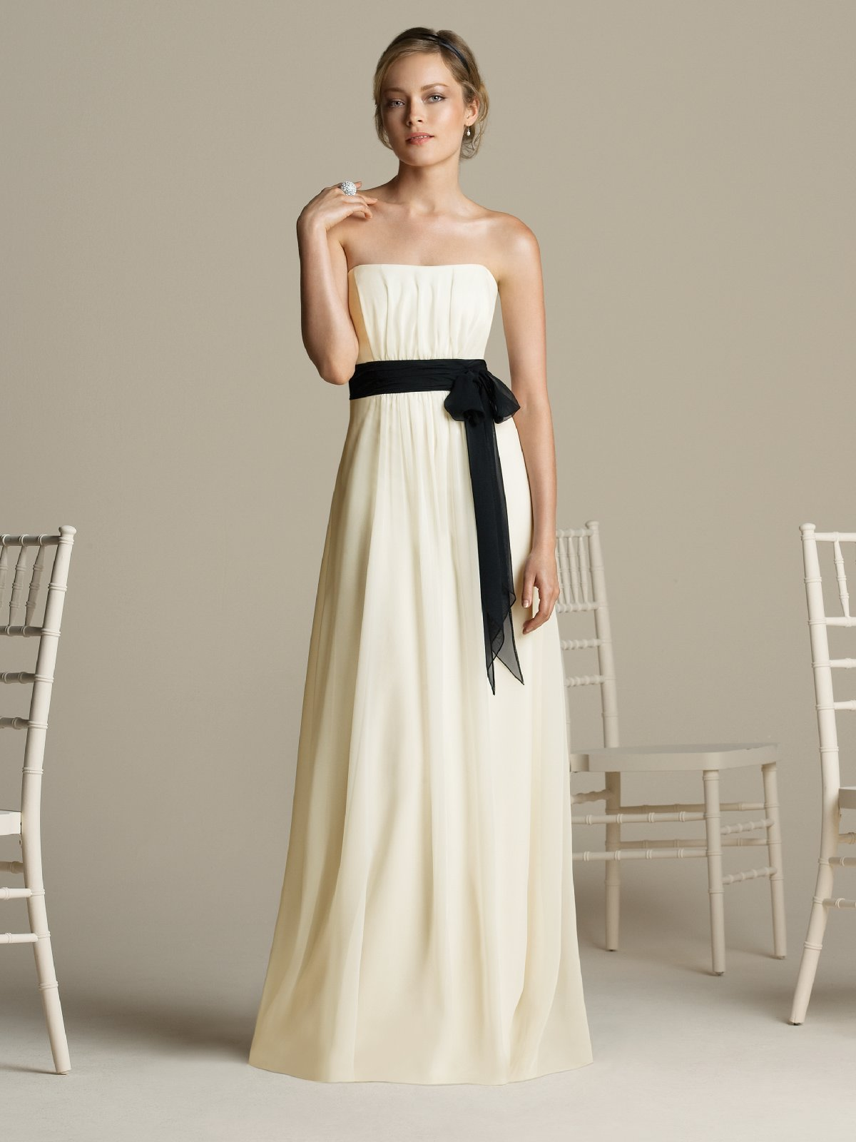 Ivory Empire Strapless Zipper Floor Length Draped Chiffon Prom Dresses With Black Sash