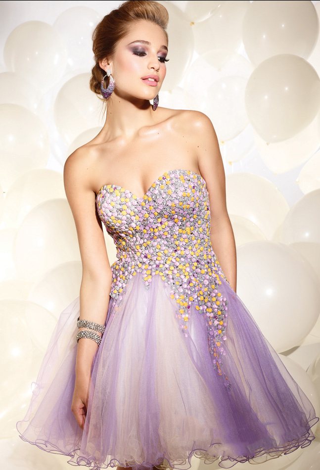 Lavender Empire Sweetheart Strapless Zipper Tulle Short Mini Cocktail Dresses With Beading And Ruffles