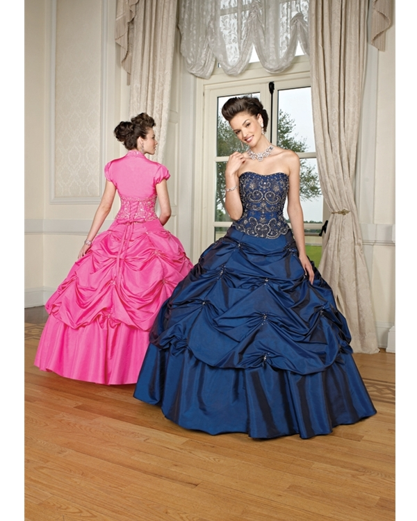 Navy Blue Ball Gown Strapless Lace Up Full Length Quinceanera Dresses With Beading And Twist Drapes