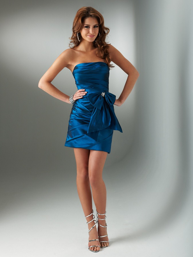 Elegant Navy Blue Strapless Short Mini Column Homecoming Dresses With Bowknots