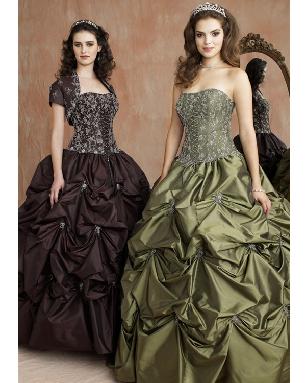 Strapless Olive Ball Gown Lace Up Full Length Quinceanera Dresses With Embroidery And Twist Drapes