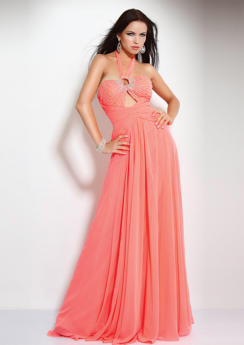 Apricot A Line Halter Backless Sweep Train Beading And Pleats Floor Length Evening Dresses