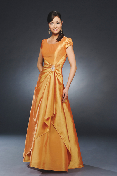 Bright Orange Scoop And Short Sleeve Zipper A Line Floor Length Mother Of Bride Dresses With Beading And Ruffles