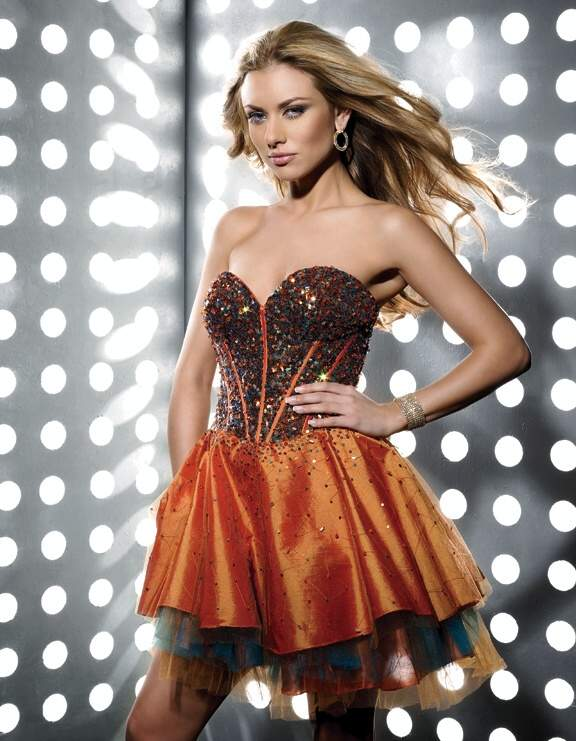 Orange A Line Strapless Sweetheart Zipper Short Mini Cocktail Dresses With Sequines And Ruffles