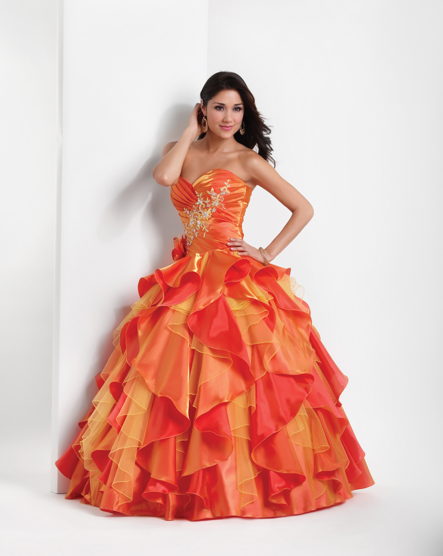 Orange And Red Ball Gown Sweetheart Full Length Quinceanera Dresses With Beading And Ruffles