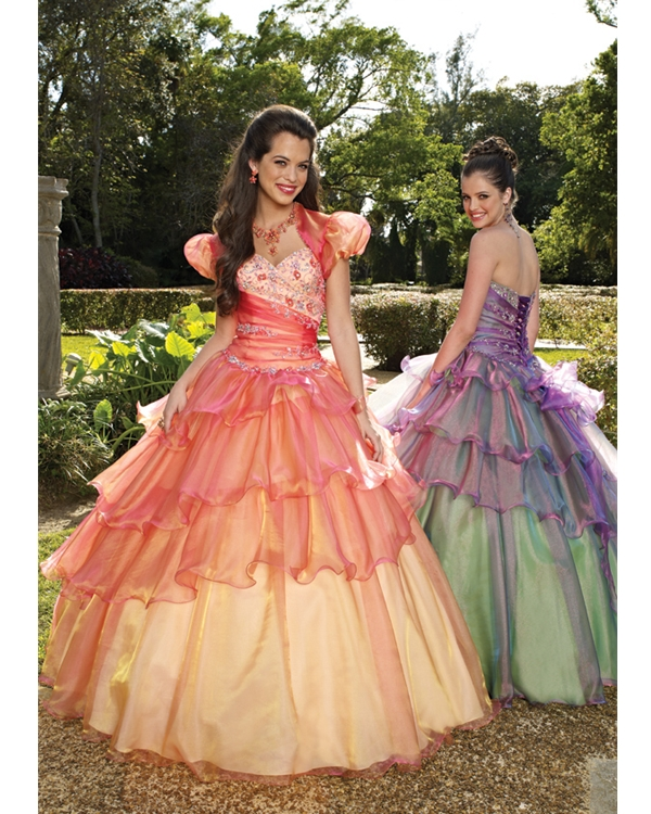 Gradient Pink Ball Gown Strapless Sweetheart Floor Length Quinceanera Dresses With Beading And Ruffles
