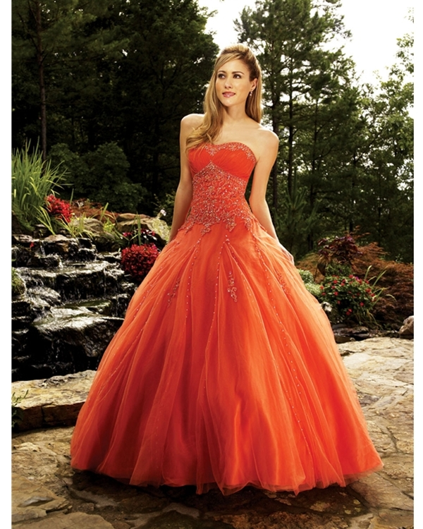 Orange Ball Gown Strapless Lace Up Floor Length Quinceanera Dresses With Beadings