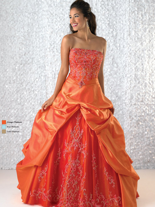 Orange Ball Gown Strapless Lace Up Full Length Quinceanera Dresses With Beading Embroidery And Drapes