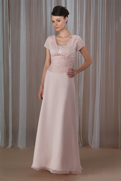 Pearl Pink A Line Scoop And Short Sleeve Ruches Floor Length Chiffon Prom Dresses