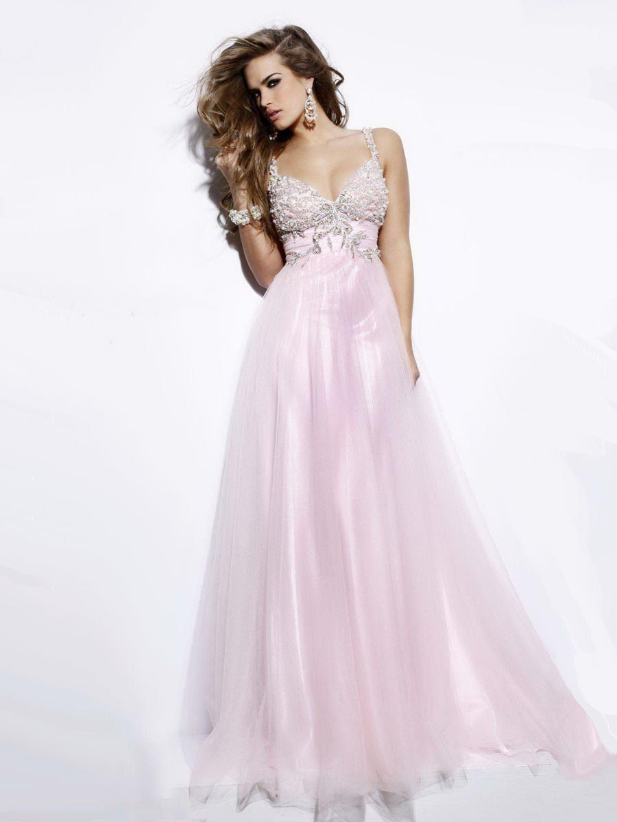 Baby Pink A Line Spaghetti Straps And V Neck Backless Full Length Graduation Dresses With Beading Embroidery