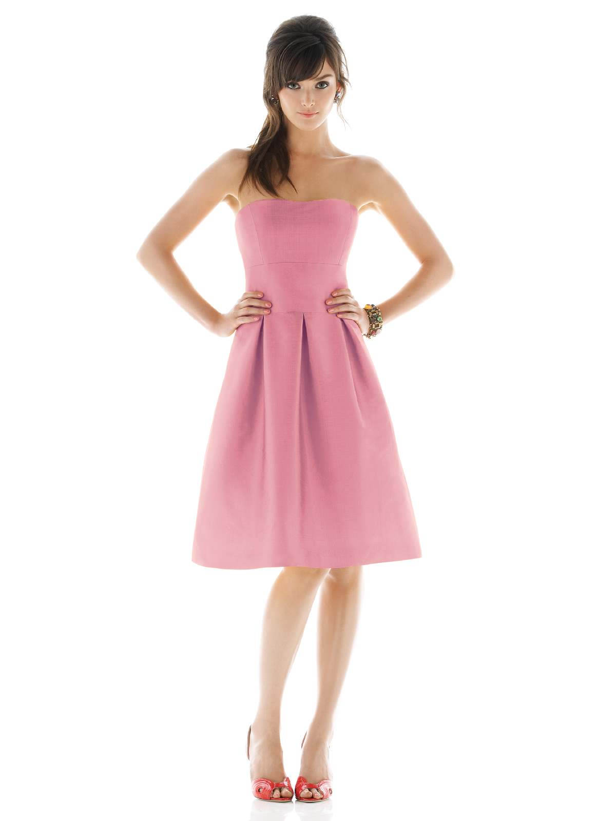 Hot Sale A Line Strapless Zipper Knee Length Pink Prom Dresses With Draped Skirt