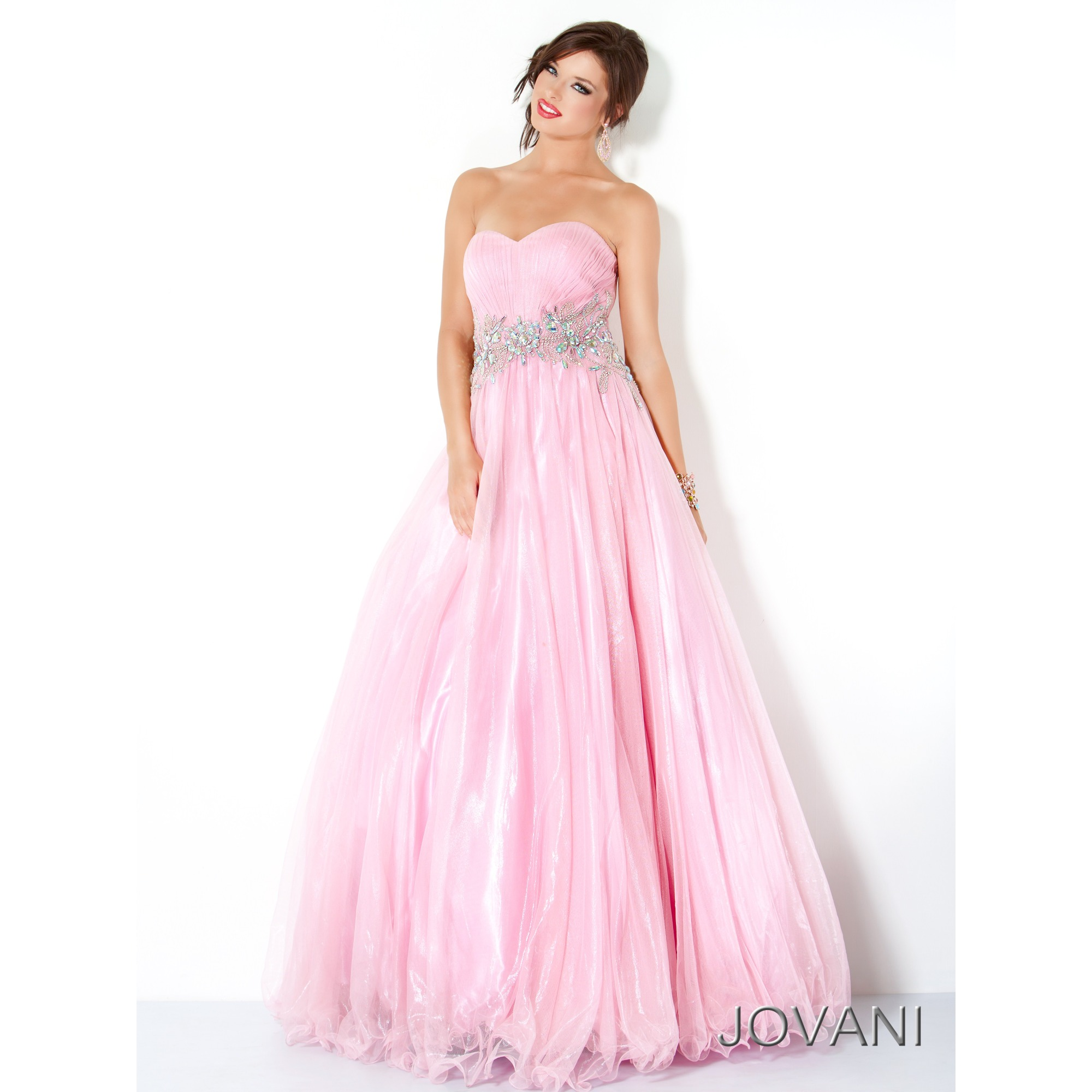 Pink A Line Strapless Sweetheart Floor Length Zipper Prom Dresses With Beading Belt