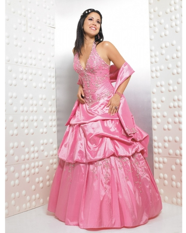 Pink Ball Gown Halter Low Back And Lace Up Floor Length Embroidered And Ruffled Taffeta Quinceanera Dresses
