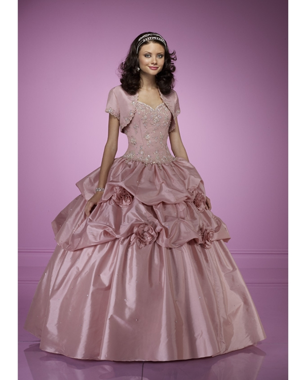 Old Pink Ball Gown Strapless Sweetheart Lace Up Floor Length Quinceanera Dresses With Beading And Ruffles And Flowers