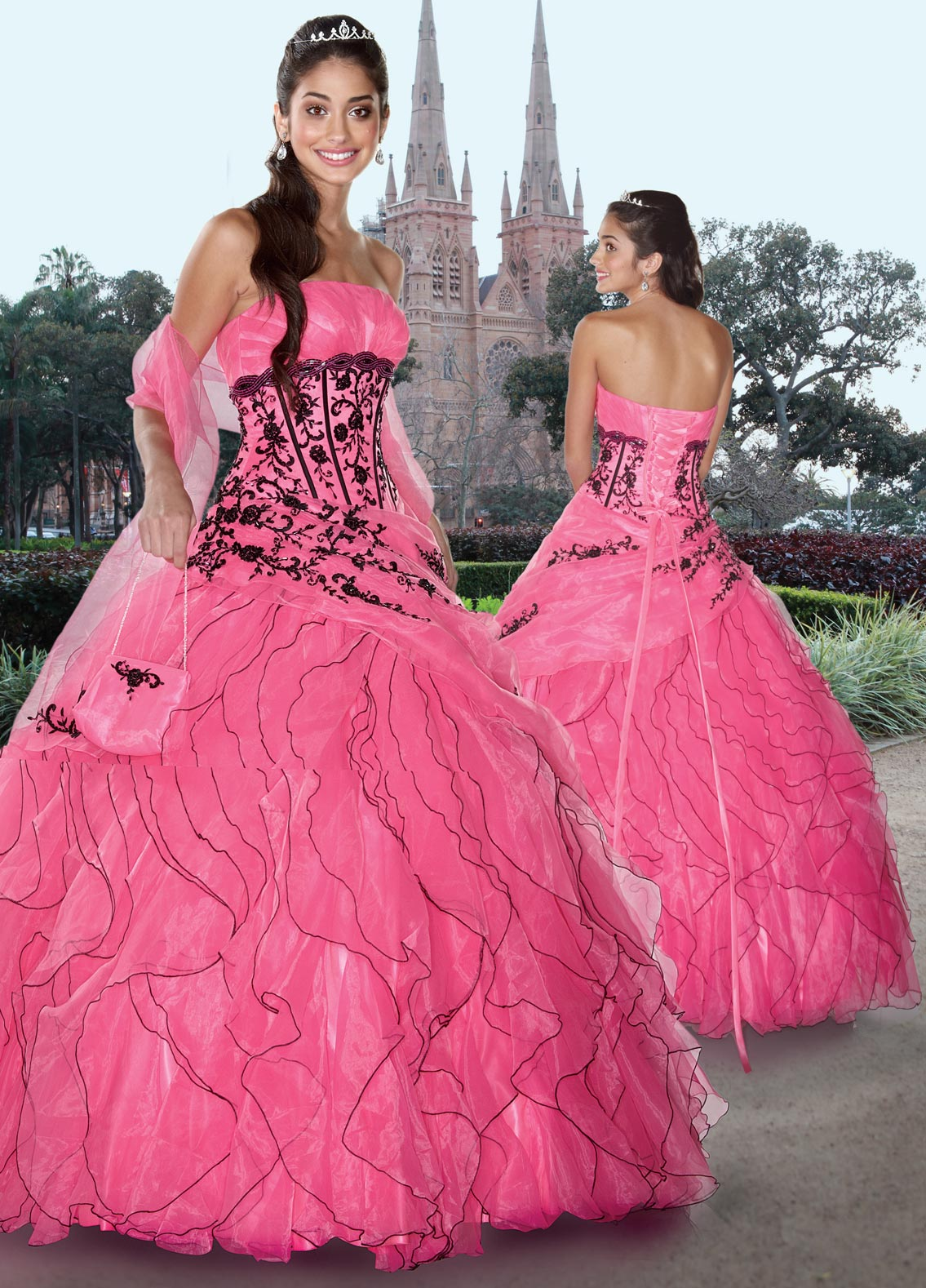 Pink Ball Gown Strapless Lace Up Floor Length Quinceanera Dresses With Black Embroidery And Ruffles