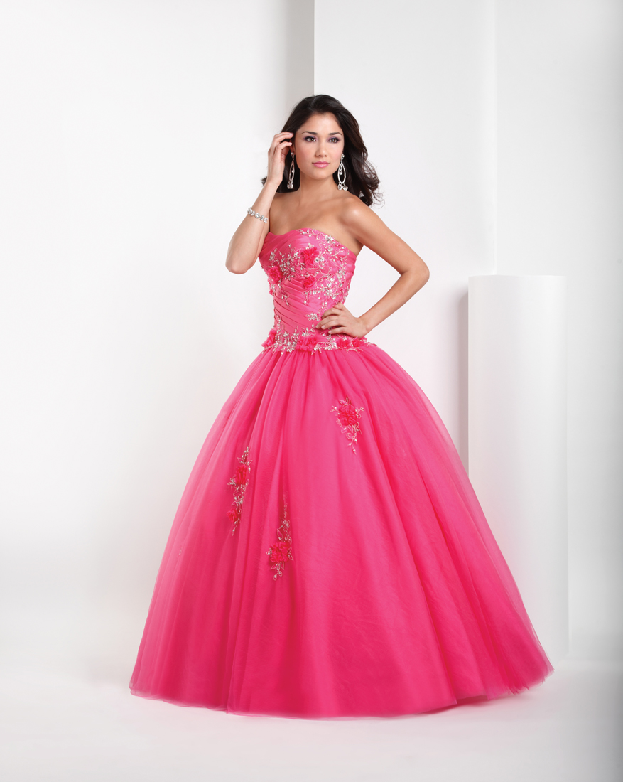 Pink Ball Gown Sweetheart Full Length Quinceanera Dresses With Beading And Appliques