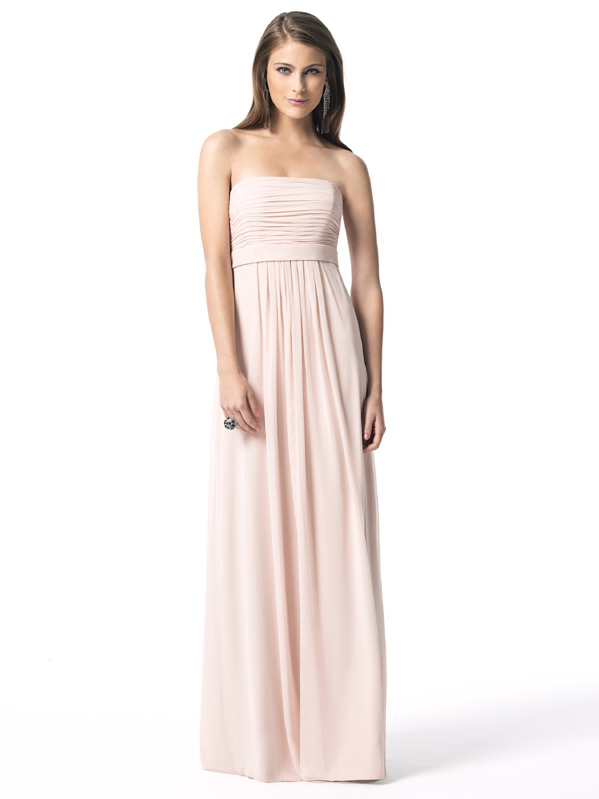 Pale Pink Column Strapless Zipper Floor Length Pleated Chiffon Prom Dresses