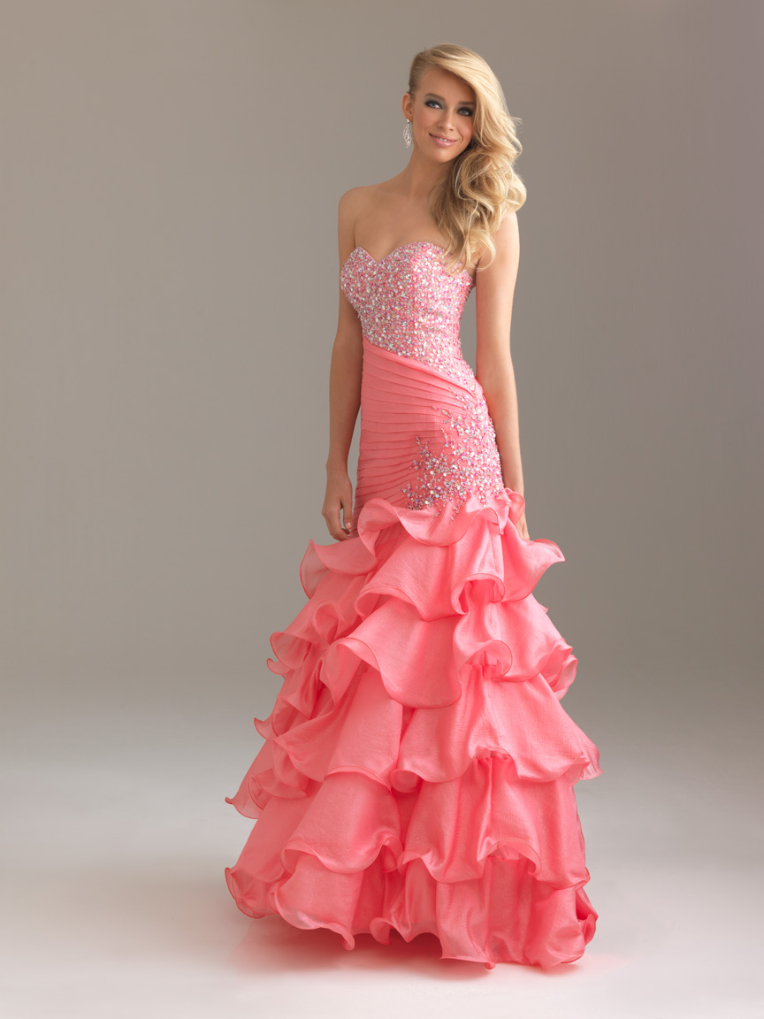 Pink Mermaid Sweetheart And Strapless Full Length Prom Dresses With Sequined And Tiered Ruffles