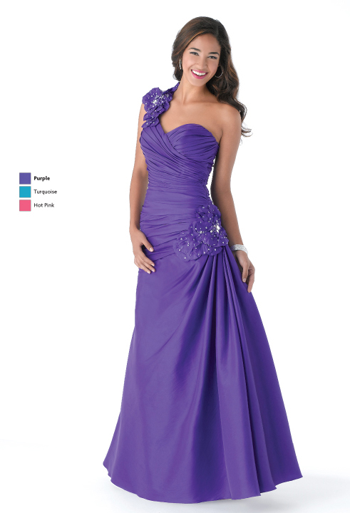 Purple A Line One Shoulder Lace Up Floor Length Satin Prom Dresses With Appliques And Drapes