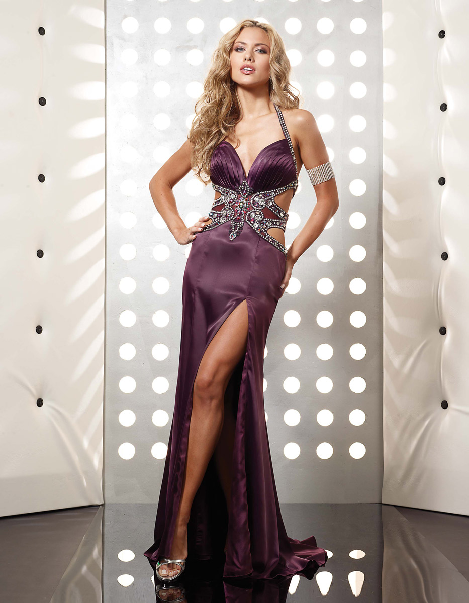 Grape Sheather Sweetheart And Halter Low Back High Slit Sweep Train Beading Floor Length Evening Dresses