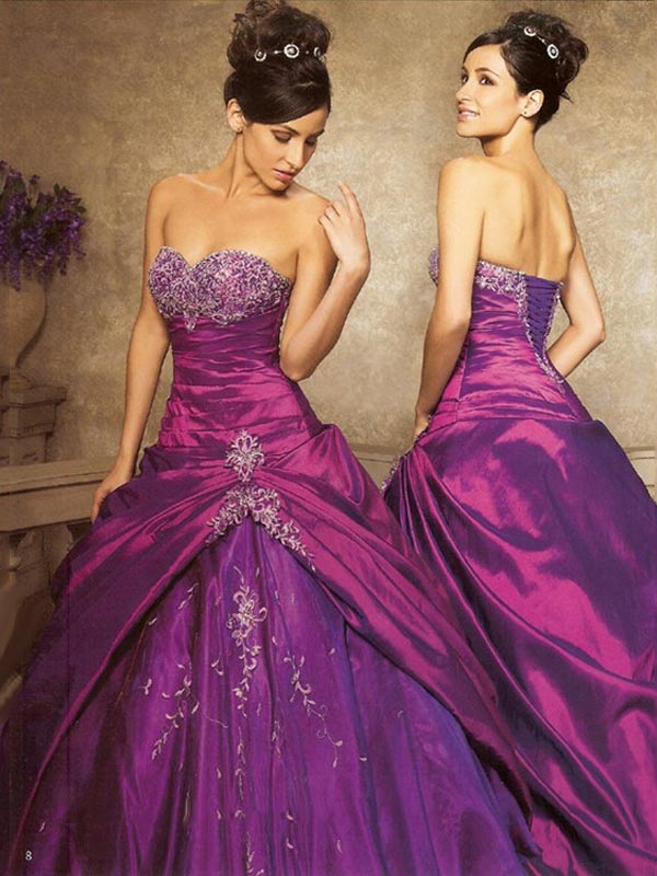 Purple Ball Gown Strapless Lace Up Floor Length Taffeta Quinceanera Dresses With Beading Embroidery