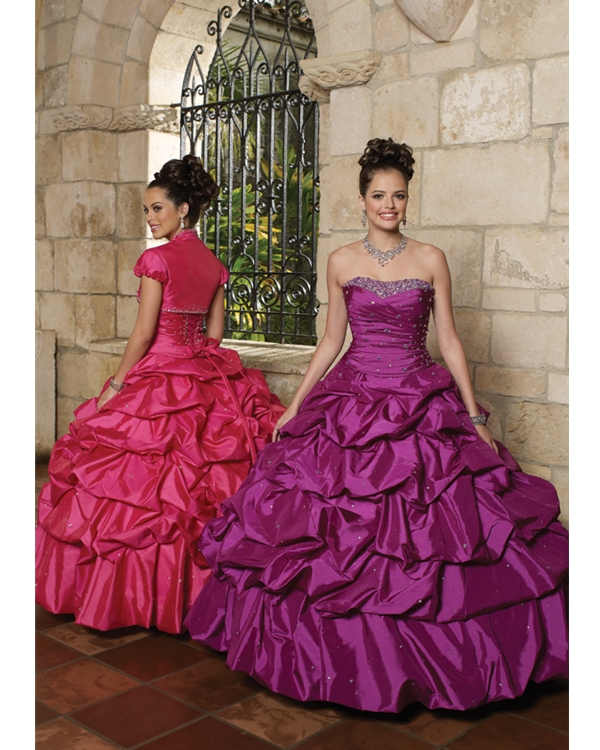 Strapless Lace Up Full Length Fuchsia Ball Gown Quinceanera Dresses With Sequins And Twist Drapes