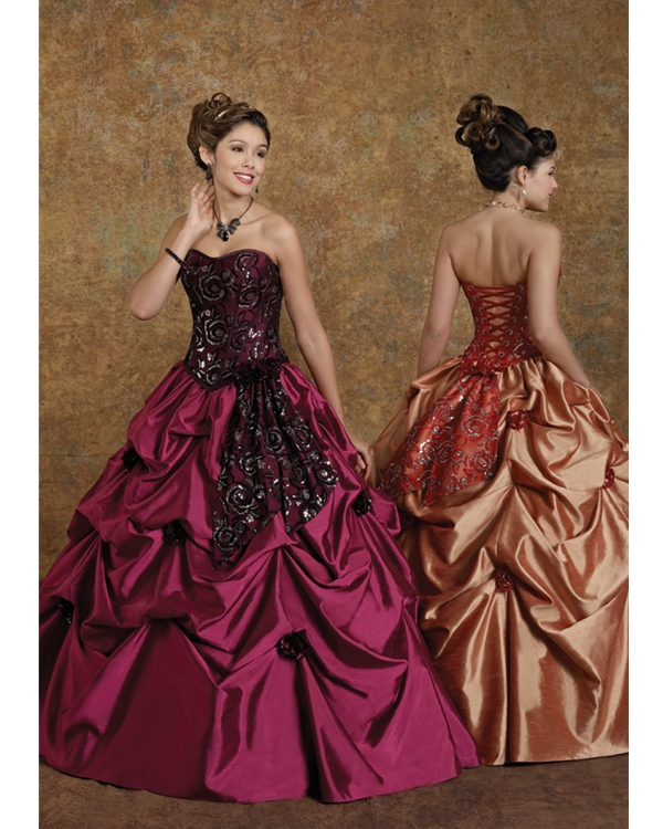 Purple Ball Gown Strapless Sweetheart Lace Up Floor Length Quinceanera Dresses With Floral Embrodiery And Ruffles