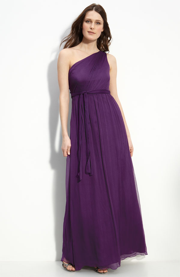 Purple Column One Shoulder Ankle Length Pleated Chiffon Prom Dresses With Sash