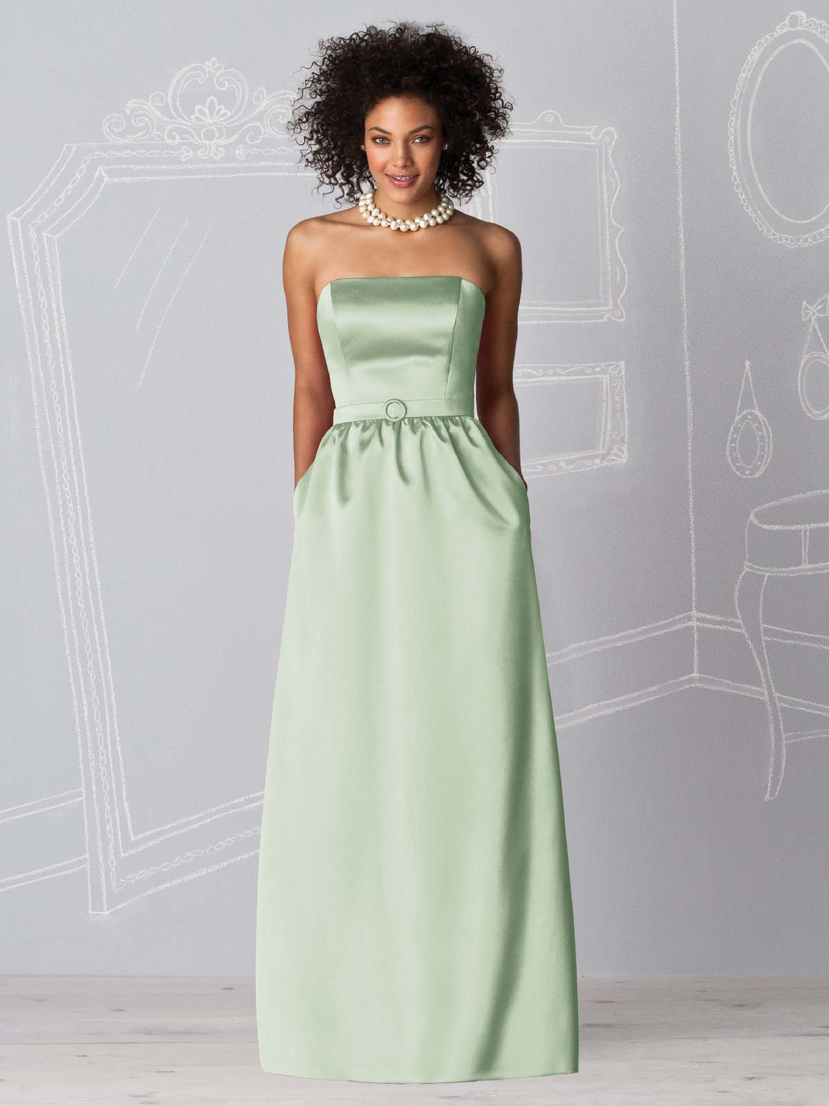 Pale Sage Column Strapless Zipper Floor Length Satin Prom Dresses With Belt