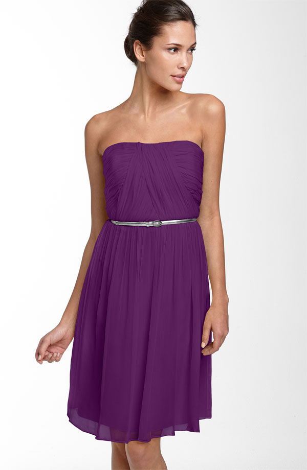 Purple Empire Strapless Zipper Pleated Knee Length Chiffon Prom Dresses