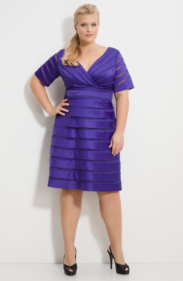 Purple Empire V Neck And Short Sleeves Zipper Knee Length Stripe Satin Prom Dresses