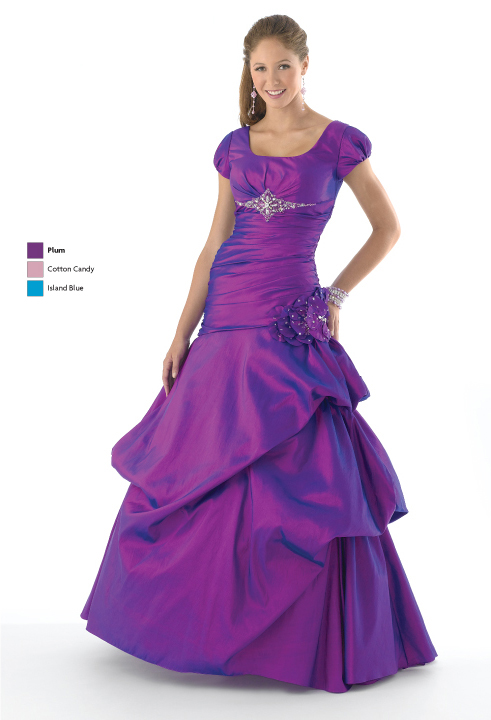 Purple Mermaid Square Neckline Short Sleeve Lace Up Full Length Prom Dresses With Beading And Flowers And Ruffles